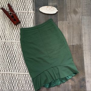 Anthro HD in Paris Emerald Ruffled Pencil Skirt